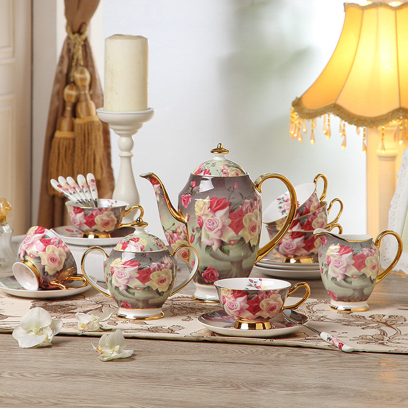"""Vintage Rose"" Bone China Full Tea Set - Tea Set - Mugdom Coffee Mugs"