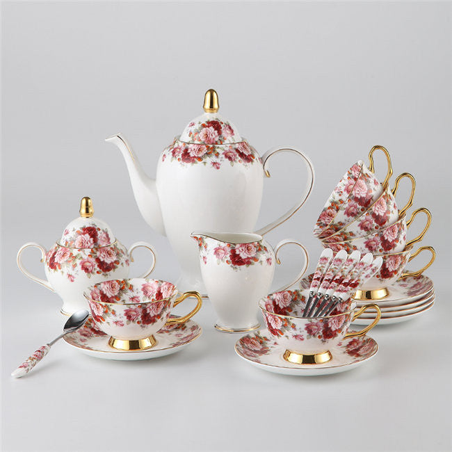 """Classic Flower"" Bone China Full Tea Set - Tea Set - Mugdom Coffee Mugs"