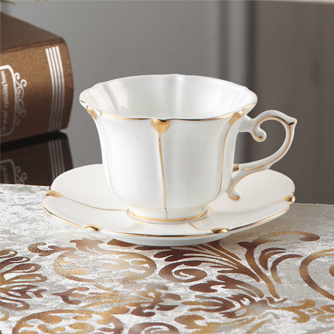 """White & Gold"" Bone China Full Tea Set - Tea Set - Mugdom Coffee Mugs"
