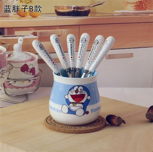 """Hello Kitty"" or ""Doraemon"" Fruit Forks Set - 8pcs - Anime Mugs - Mugdom Coffee Mugs"