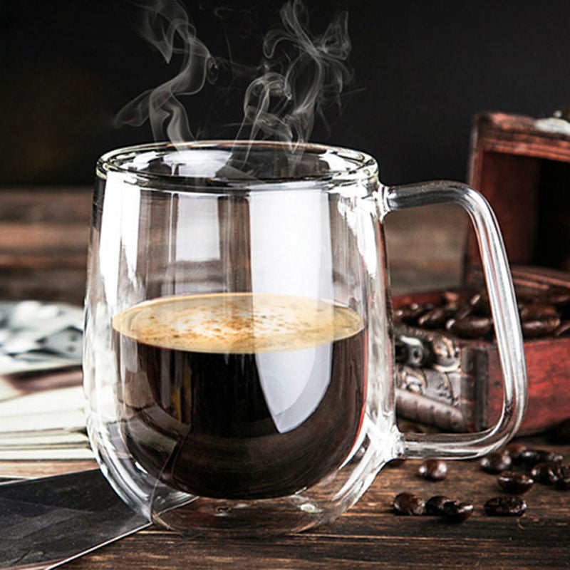 Premium Hand-Blown Glass Coffee Cup - 8.4oz - Glass Coffee Cup - Mugdom Coffee Mugs