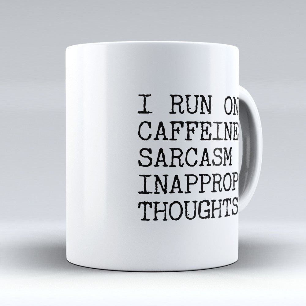 "Limited Edition - ""I Run On Caffeine"" 11oz Mug - Funny Mugs - Mugdom Coffee Mugs"