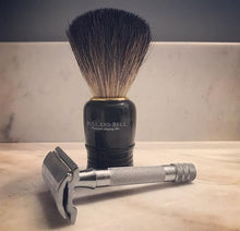 Bull and Bell Black Starter Shave Brush shown with razor