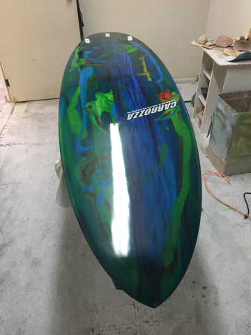 resin swirl surfboard