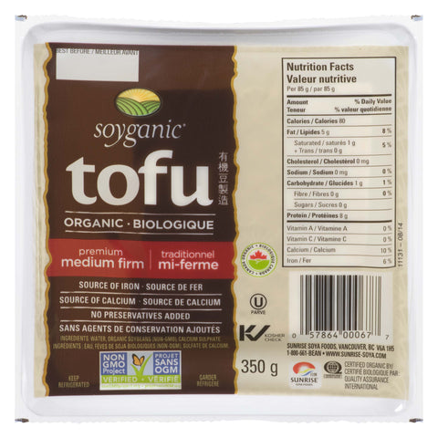 Soyganic Organic Tofu Medium Firm 350g - Kikis Delivery