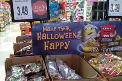 Funny Bone on Halloween M&Ms store display.