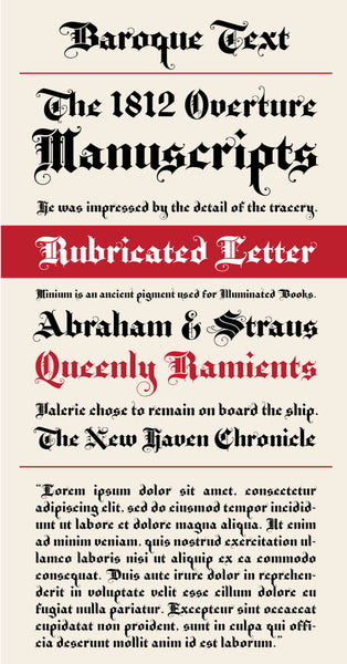Baroque Text Type Specimen
