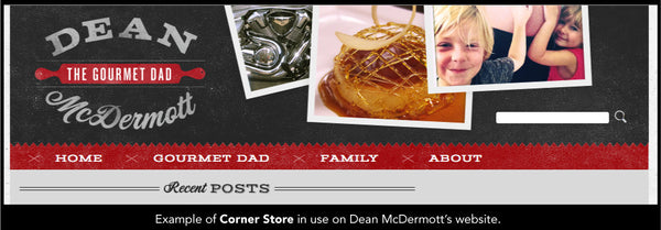 Example of Corner Store in use on Dean McDermott's website.