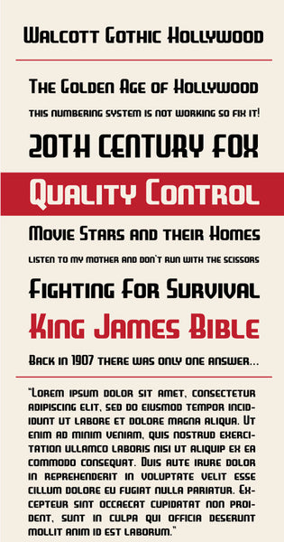 Walcott Gothic Hollywood Type Specimen