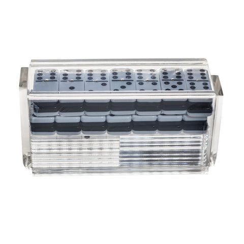"""El Catire"" Domino Set with Racks - Clear"