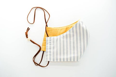Made by Deborah | Yellow/Blue & White Stripes Reversible Face Mask