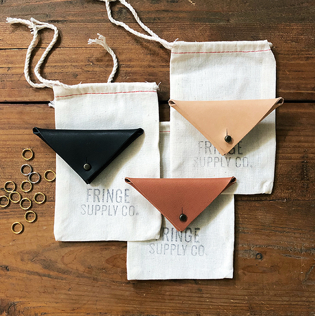 Fringe Supply | Leather & Brass Stitch Marker Set