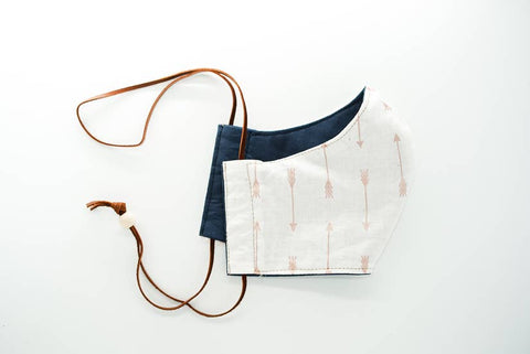 Made by Deborah | Navy/White Arrows Reversible Face Mask