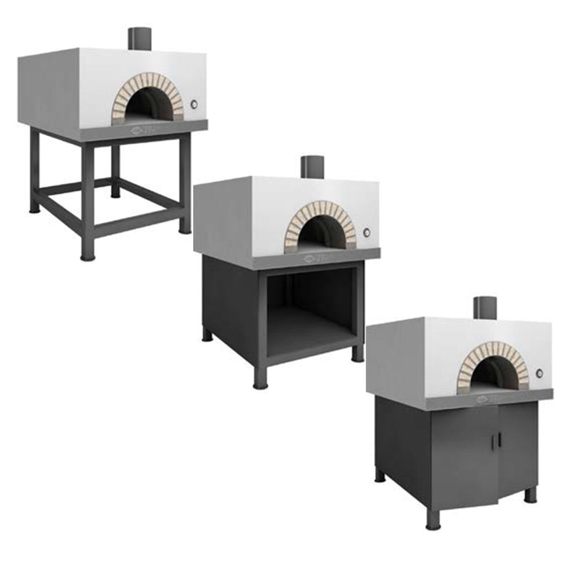 The Cubo Residential Oven, with three different installations for the oven's stand.