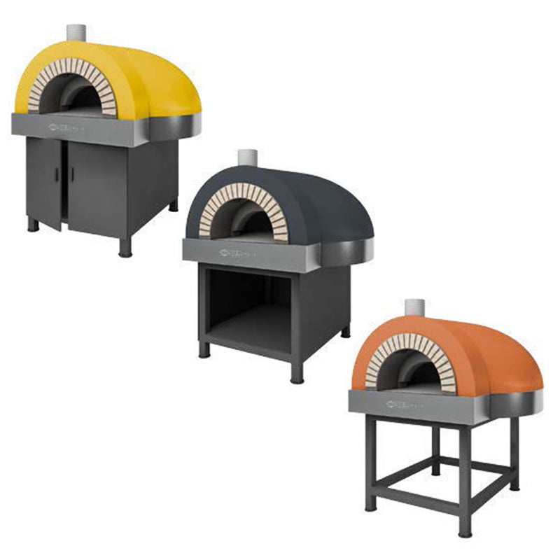 The Dome Residential Oven, with three different finishes and different installations for the oven's stand.