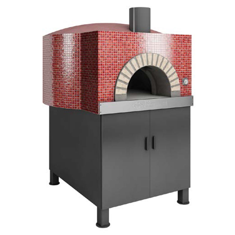 The Round Residential Oven, with a red tiled finish and doors installed at the stand.