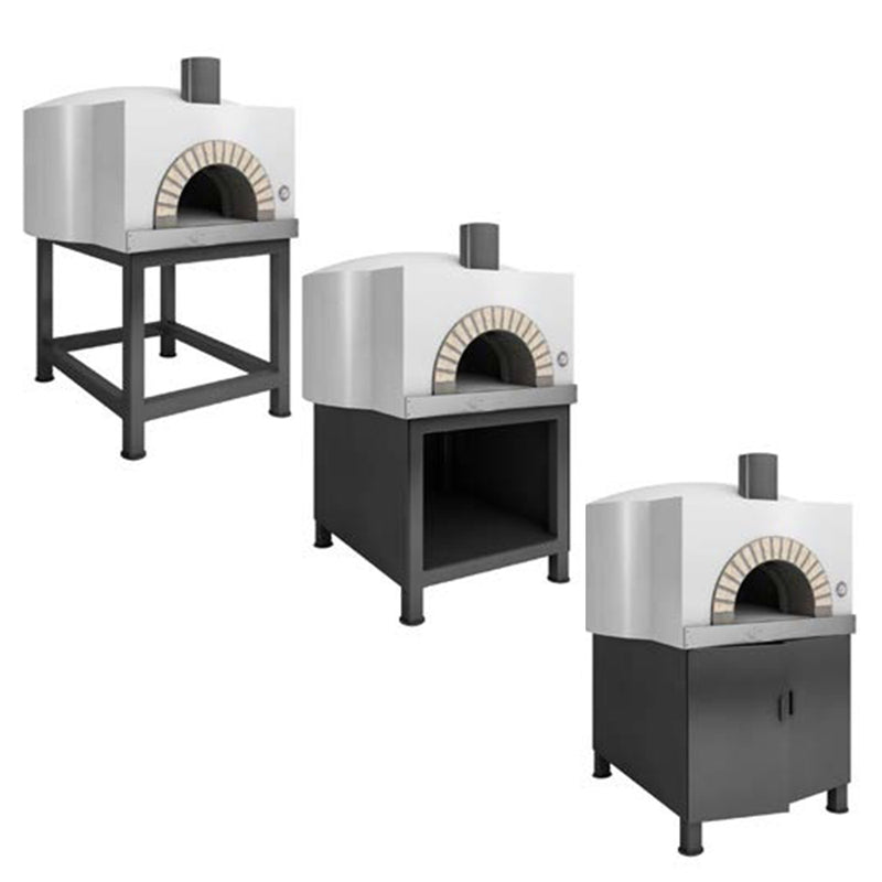 The Round Residential Oven, with a white finish and three different installations for the stand.