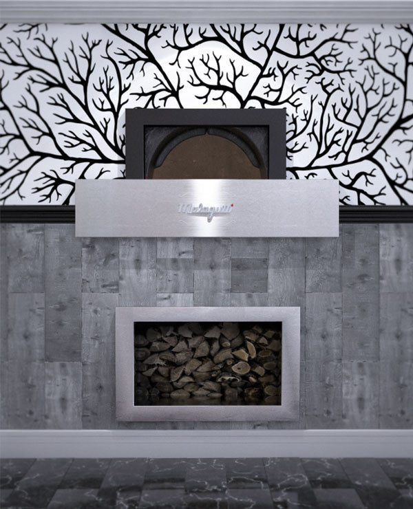 Milano fired oven enclosed within a decorated wall.