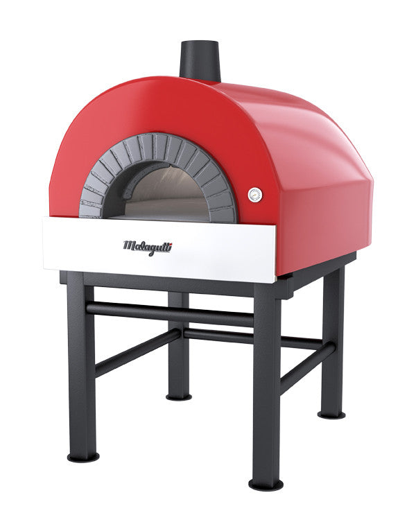 Roma fired oven with a red finish.