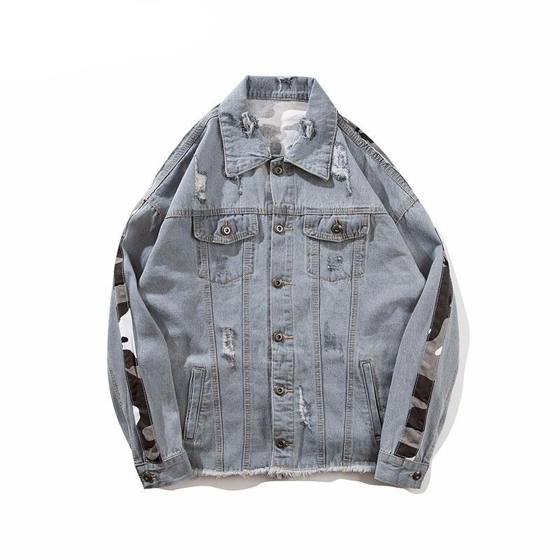 Destroyed Camouflage Denim Jacket