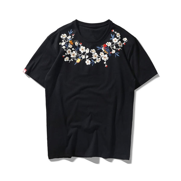 Flowered Collar T-shirt
