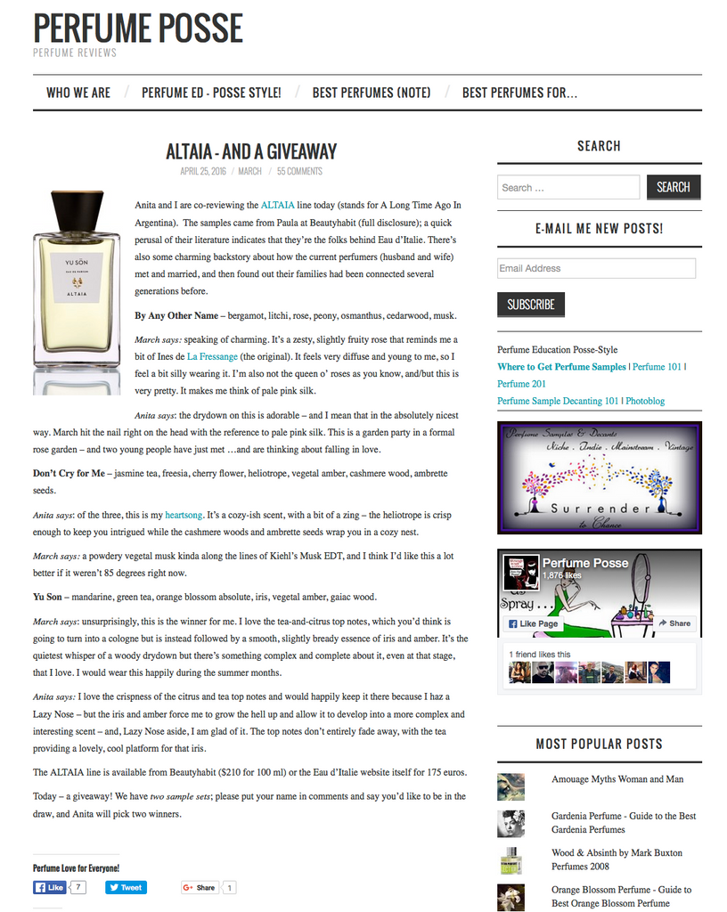 ALTAIA, By Any Other Name, Don't Cry for Me, Yu Son, Eau de Parfum, Beauty Frontier