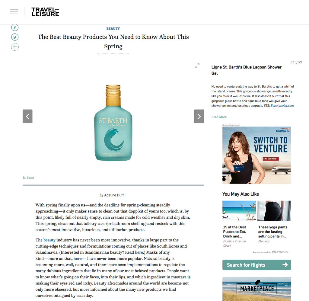 The Best Beauty Products You Need to Know About This Spring  Ligne St. Barth's Blue Lagoon Shower Gel  No need to venture all the way to St. Barth's to get a whiff of the island breeze. This gorgeous shower gel smells exactly like you think it would: divine. It also doesn't hurt that this gorgeous glass bottle and aqua blue tone will give your shower an instant, luxurious upgrade. $55; Beautyhabit.com