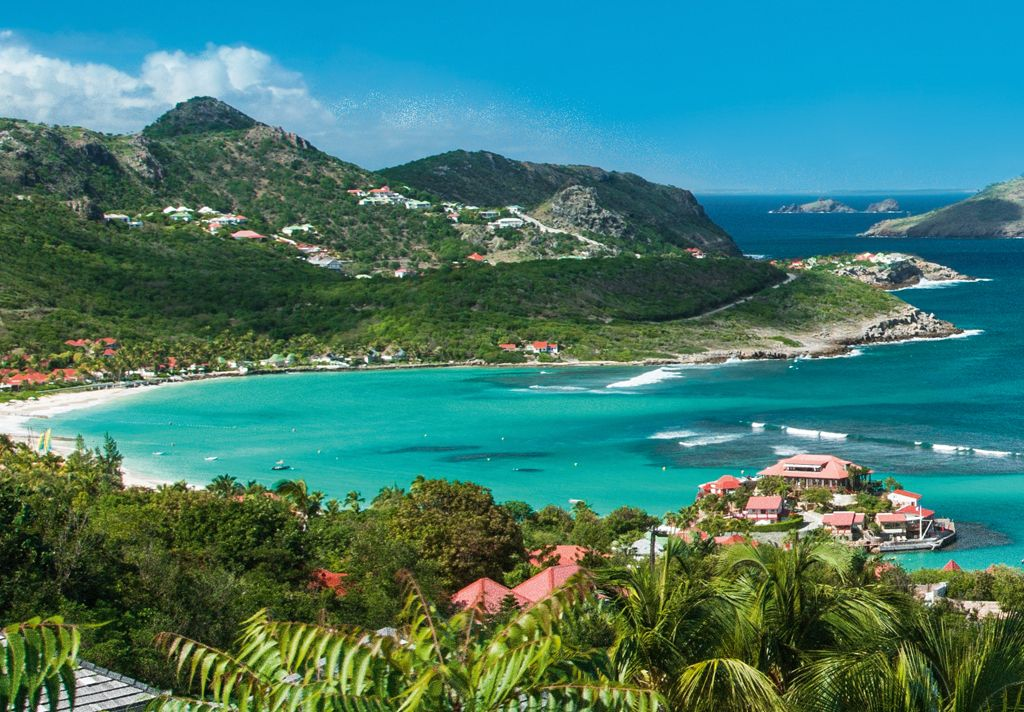 Beauty shot of St. Barth landscape and ocean