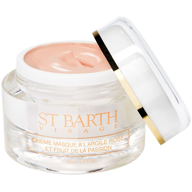 Ligne St. Barth Cream Mask With Pink Clay and Passion Fruit 50 ml with lid off to the side