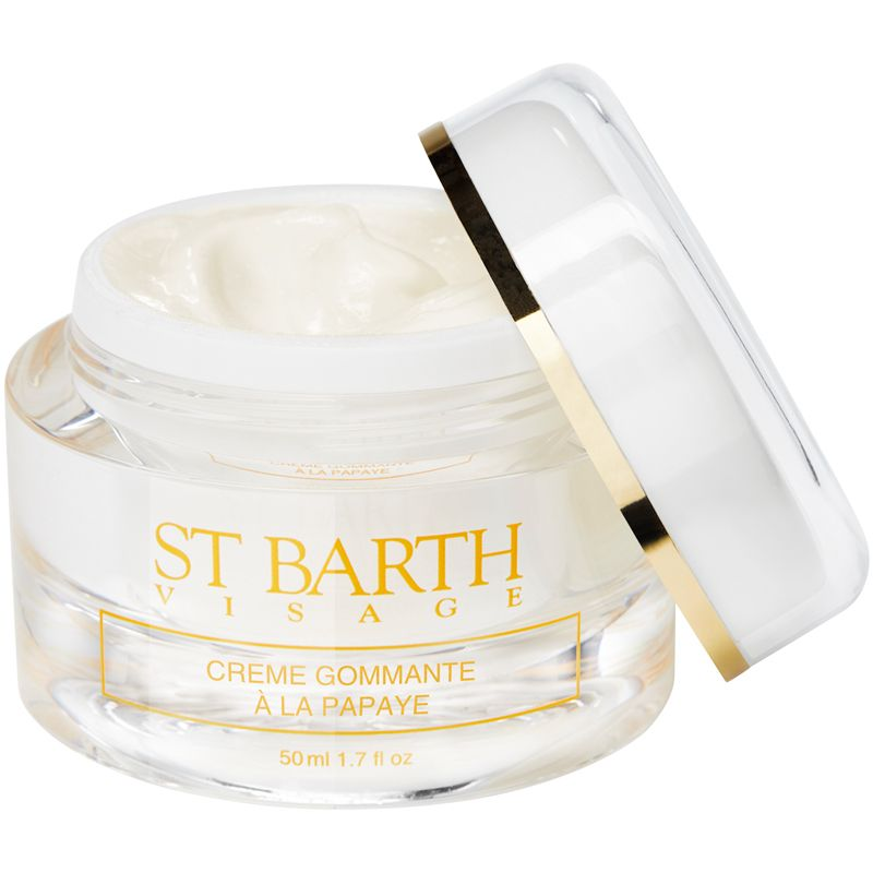 Ligne St. Barth Facial Exfoliating Cream with Papaya 50 ml with lid off to the side