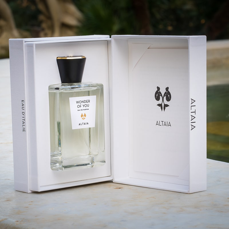 Lifestyle shot of ALTAIA Wonder of You Eau de Parfum (100 ml) in opened box facing forward