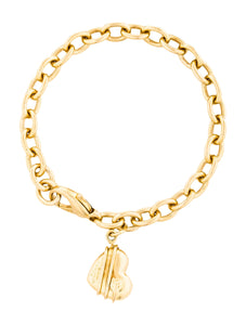 14kt Ladies Link Style Bracelet with Heart