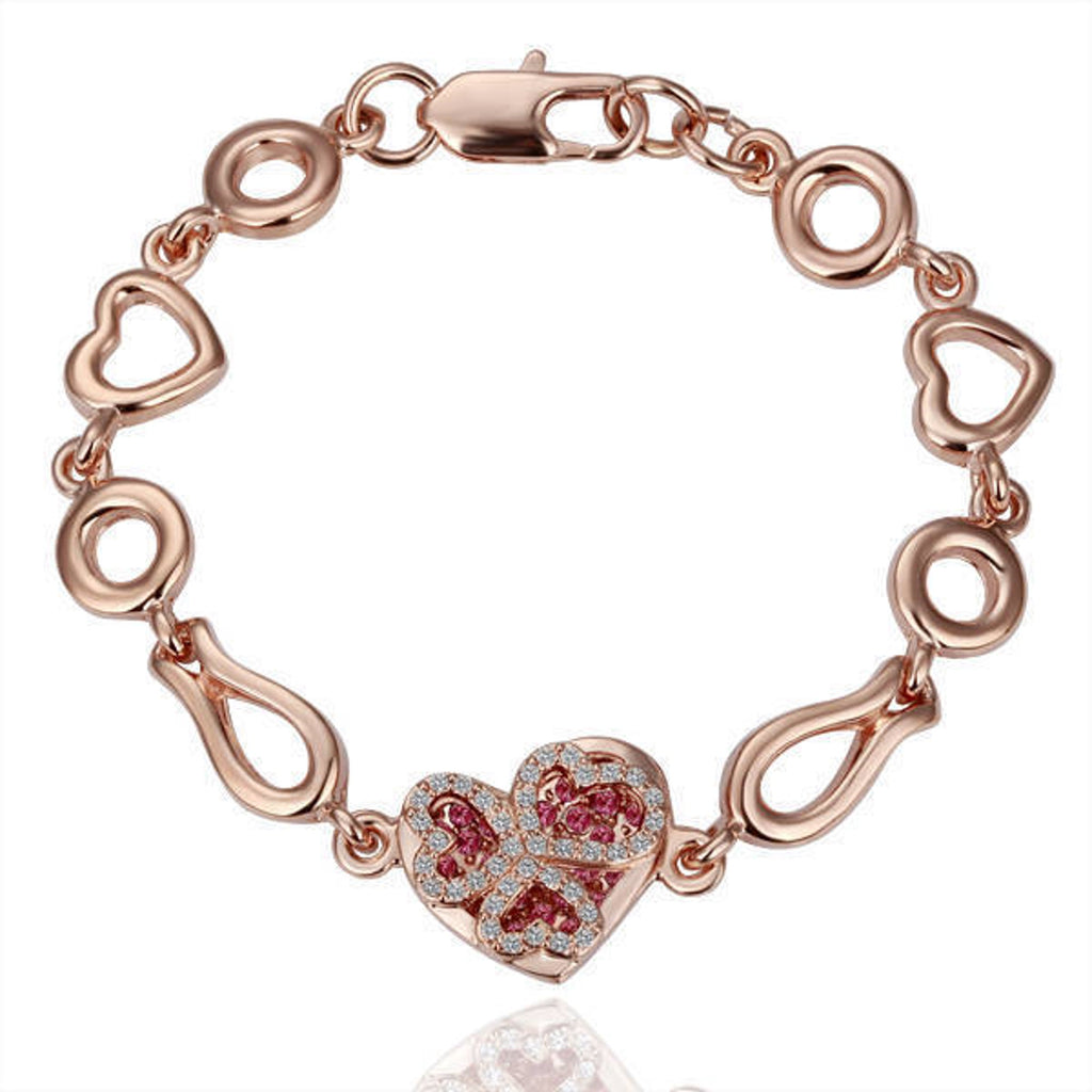 14kt Yellow Gold Ladies Heart Link Bracelet with Rubies and Diamonds