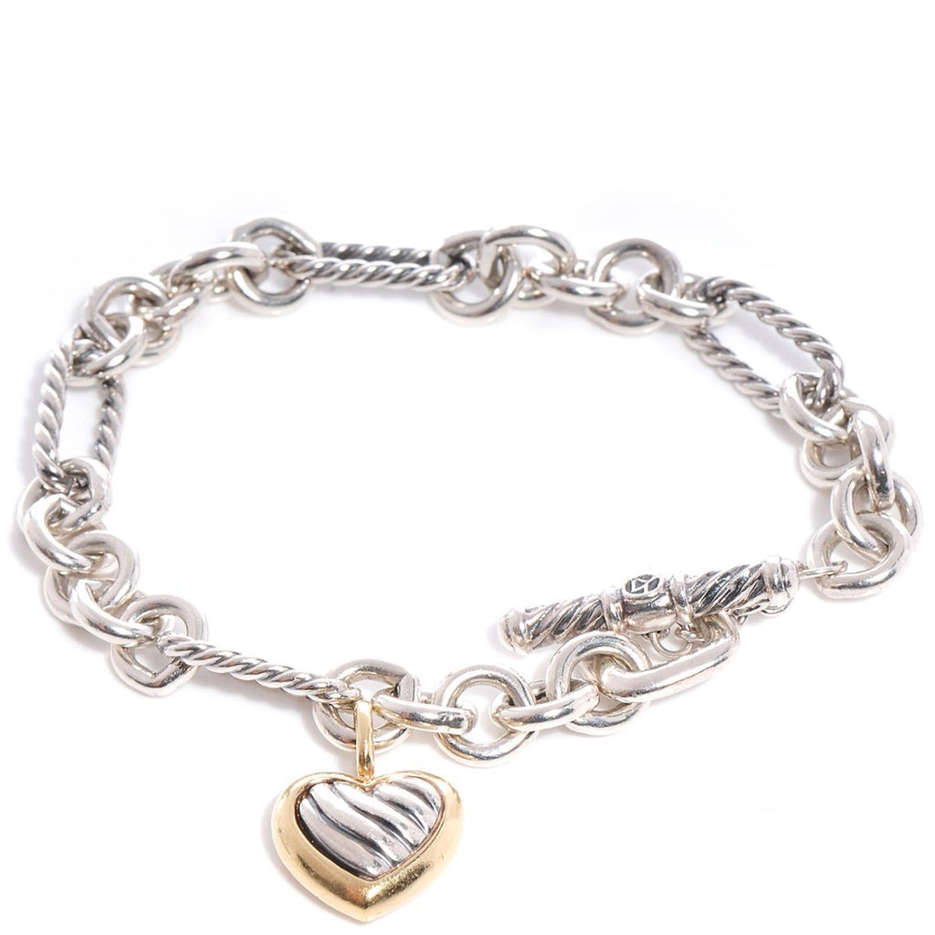 Sterling Silver Puffed Heart Style Bracelet with Gold Accent