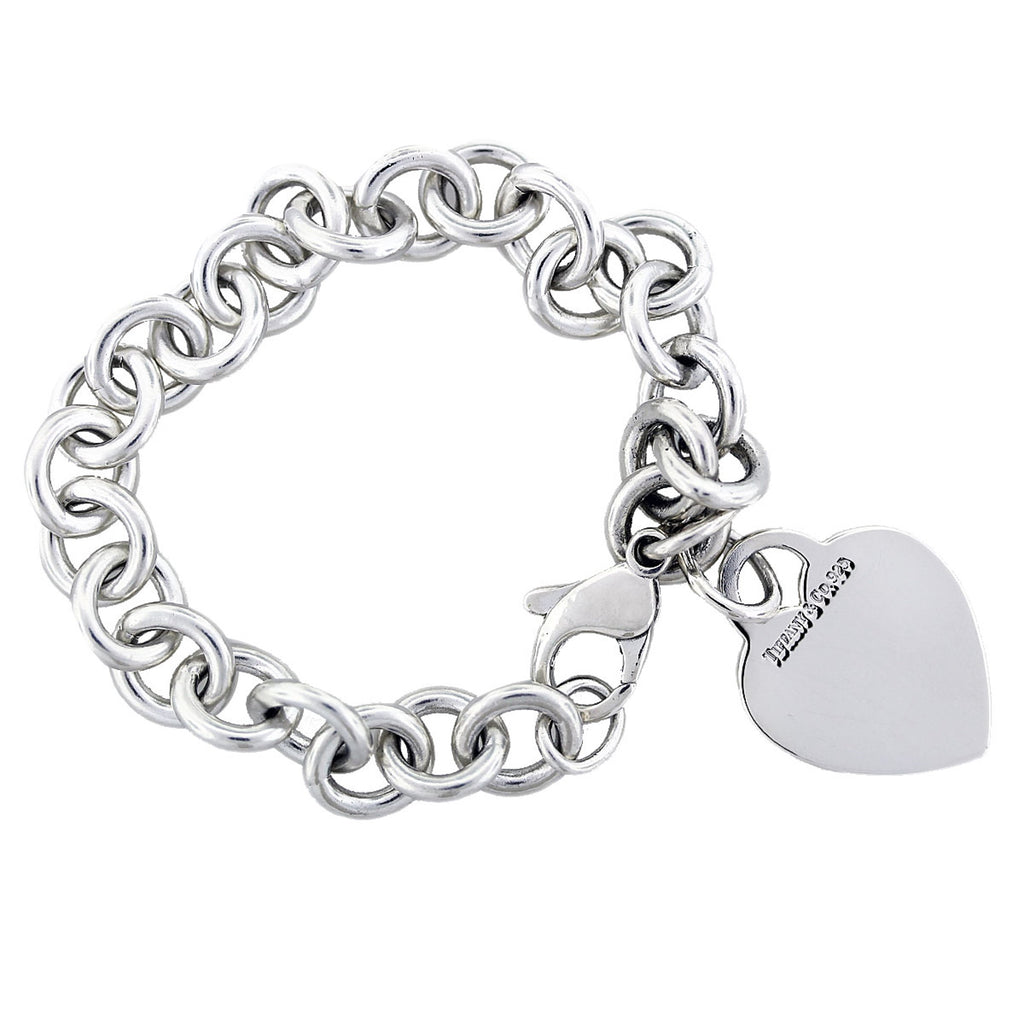 Silver Link Style Bracelet with Heart