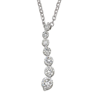 14kt White gold Journey Pendant w/18 inch Cable Chain