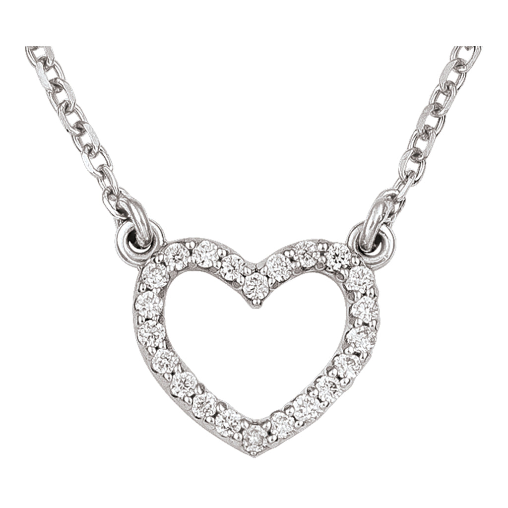 14kt White Gold Small Open Heart Diamond Necklace