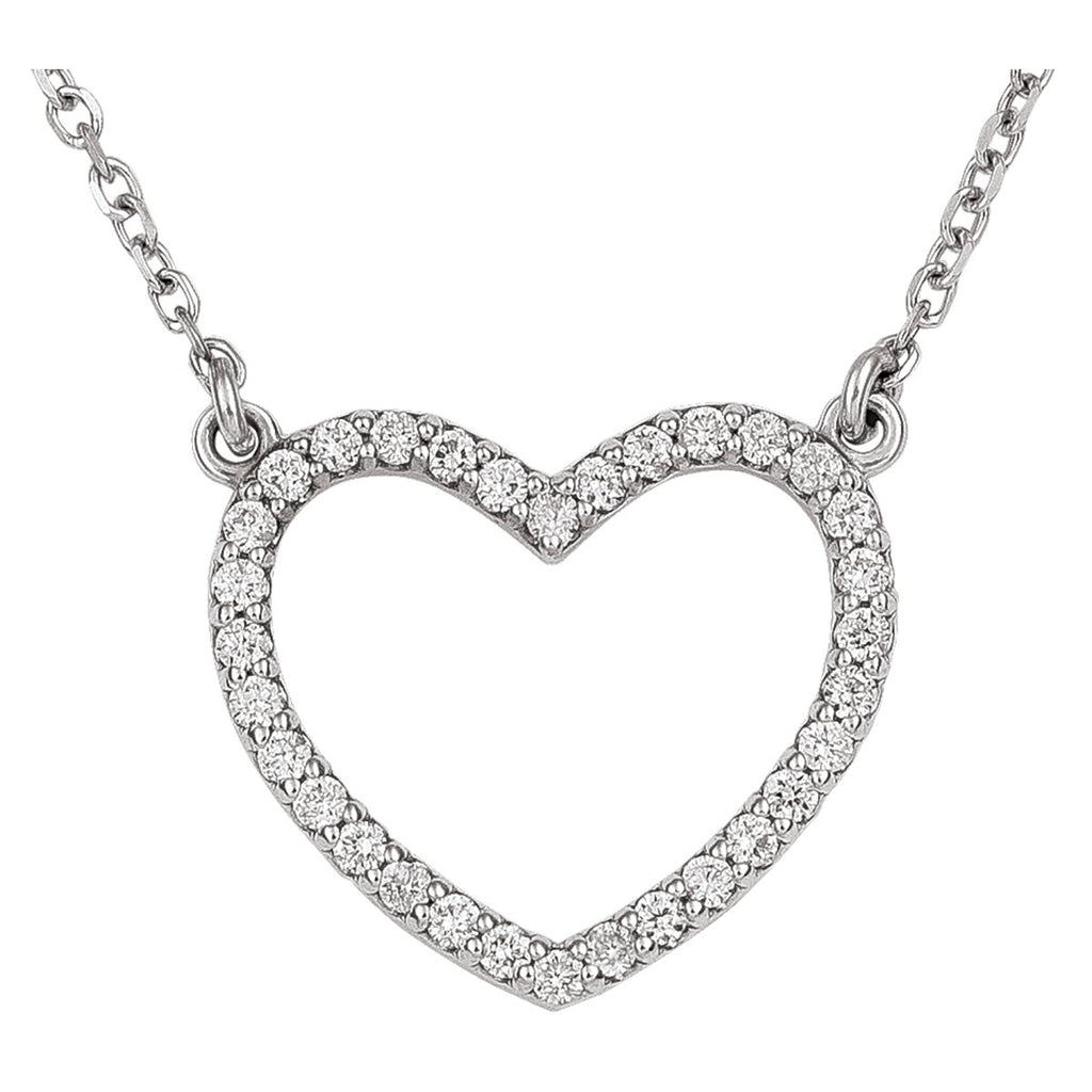 14kt White gold Open Heart Pendant w/18 inch Cable Chain