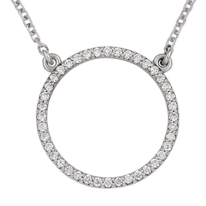 14kt White gold Circle Pendant w/18 inch Cable Chain