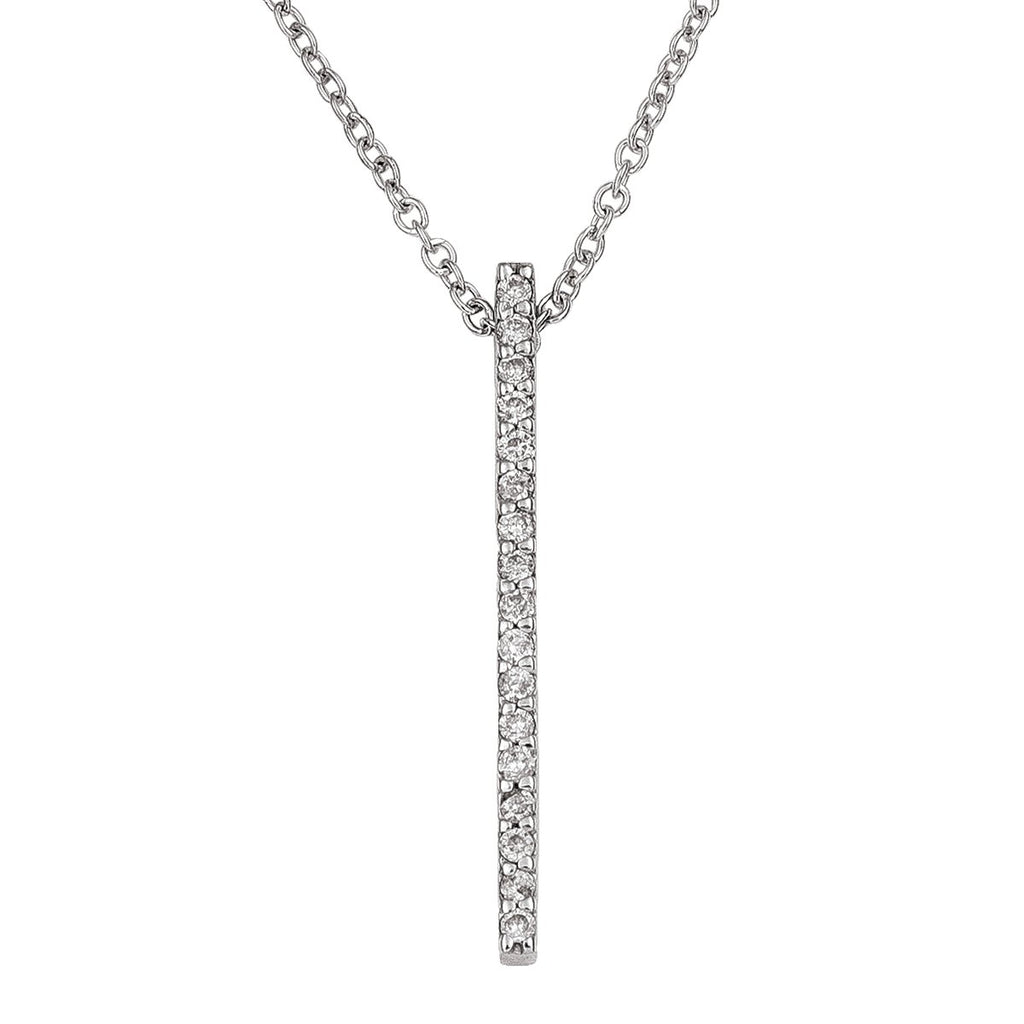 14kt White gold Verticle Bar Pendant w/18 inch Cable Chain