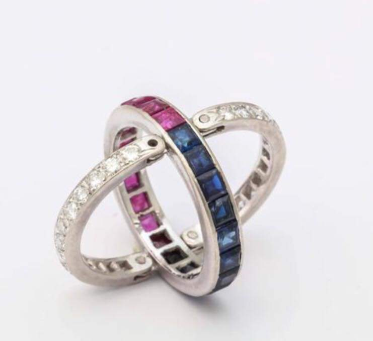 14kt White Gold Diamond, Blue Sapphire and Ruby Reversible Ring