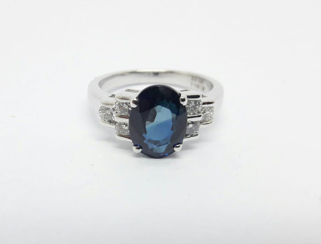 White Gold Sapphire and Diamond Ladies Ring