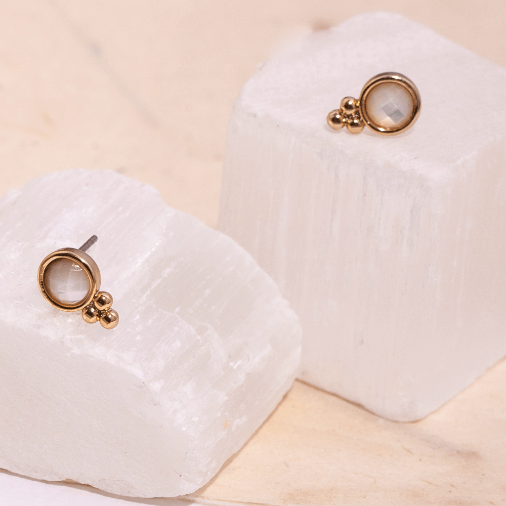 Heather Gold Studs - Emma & Chloe