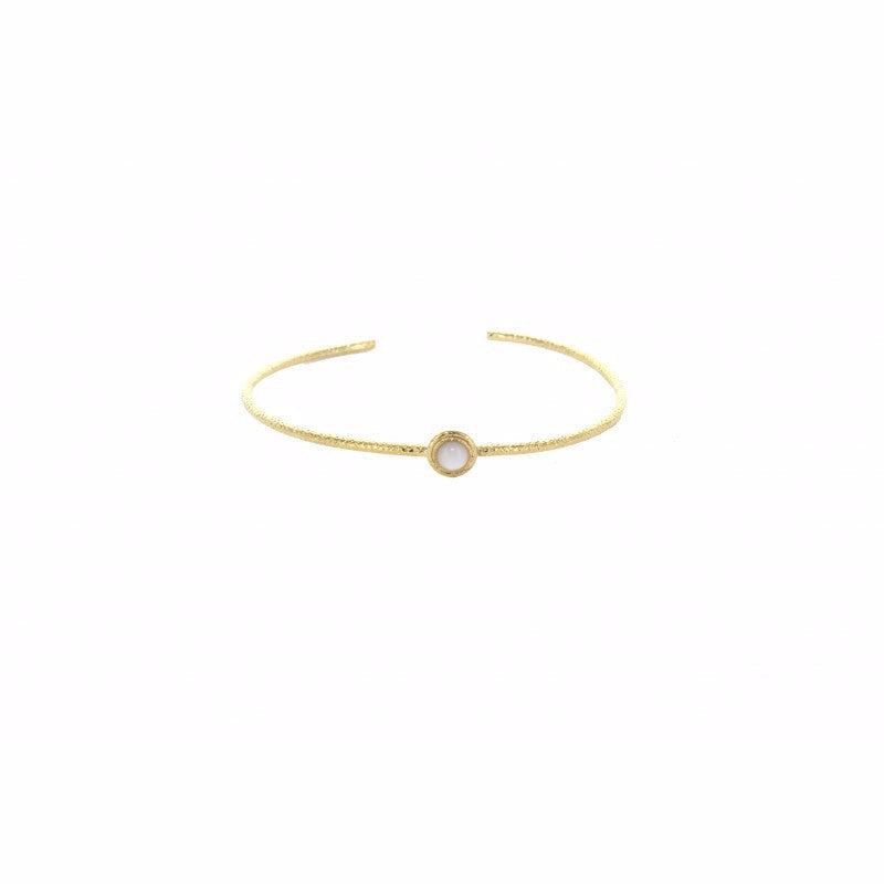 Single Oval Stone Cuff Bracelet - Emma & Chloe