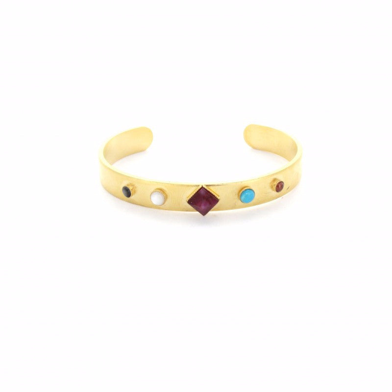 Diamond-Shaped Stone Cuff - Emma & Chloe