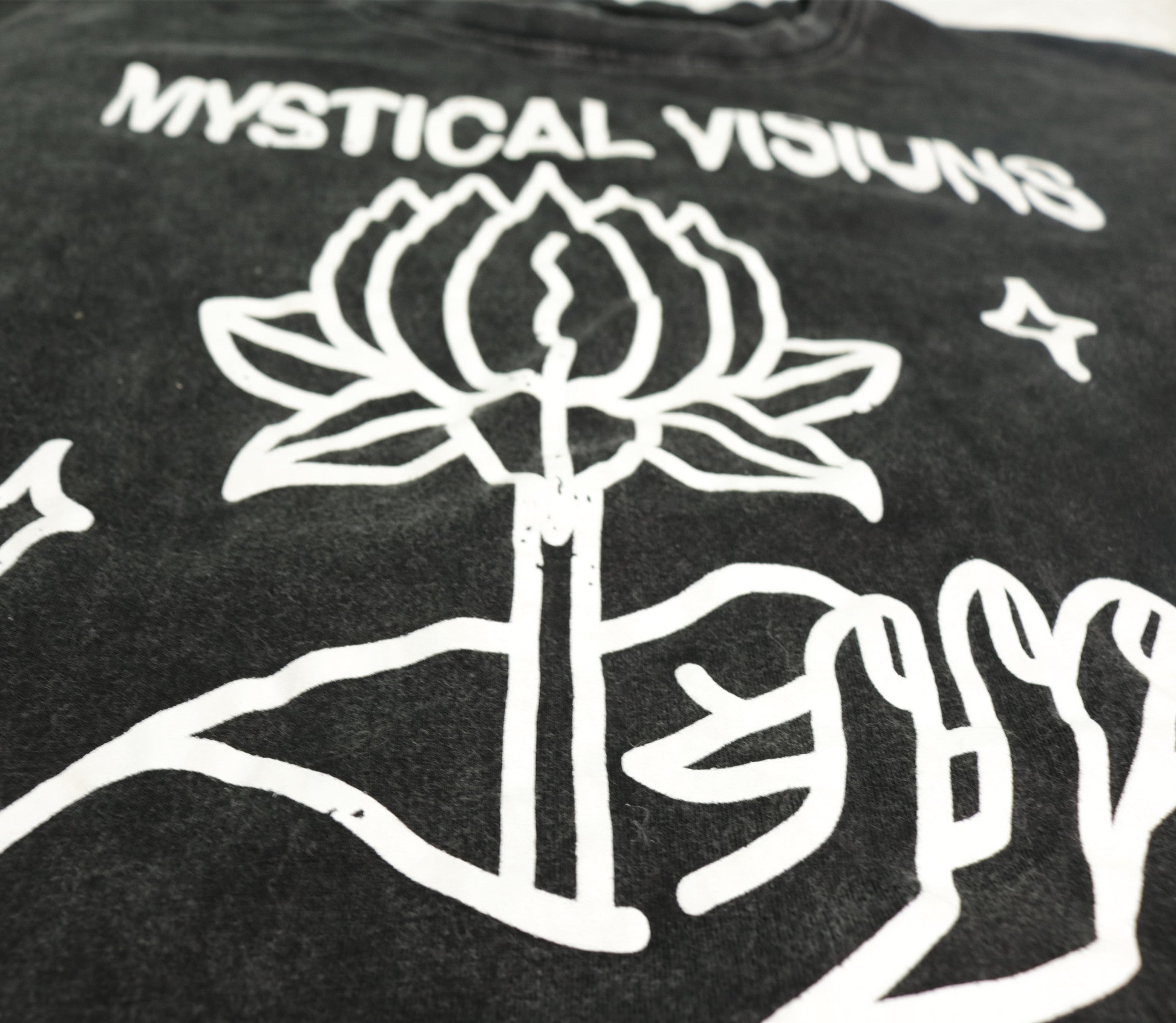 Mystical Visions And Cosmic Vibrations - Oversized Worn Black Shirt