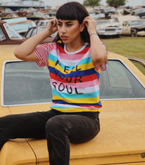 FEEL YOUR SOUL - Colorful Stripe T-Shirt