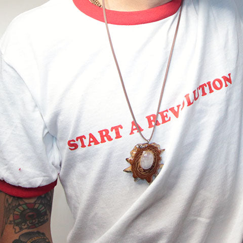 Start A Revolution - White Red Ringer T-Shirt