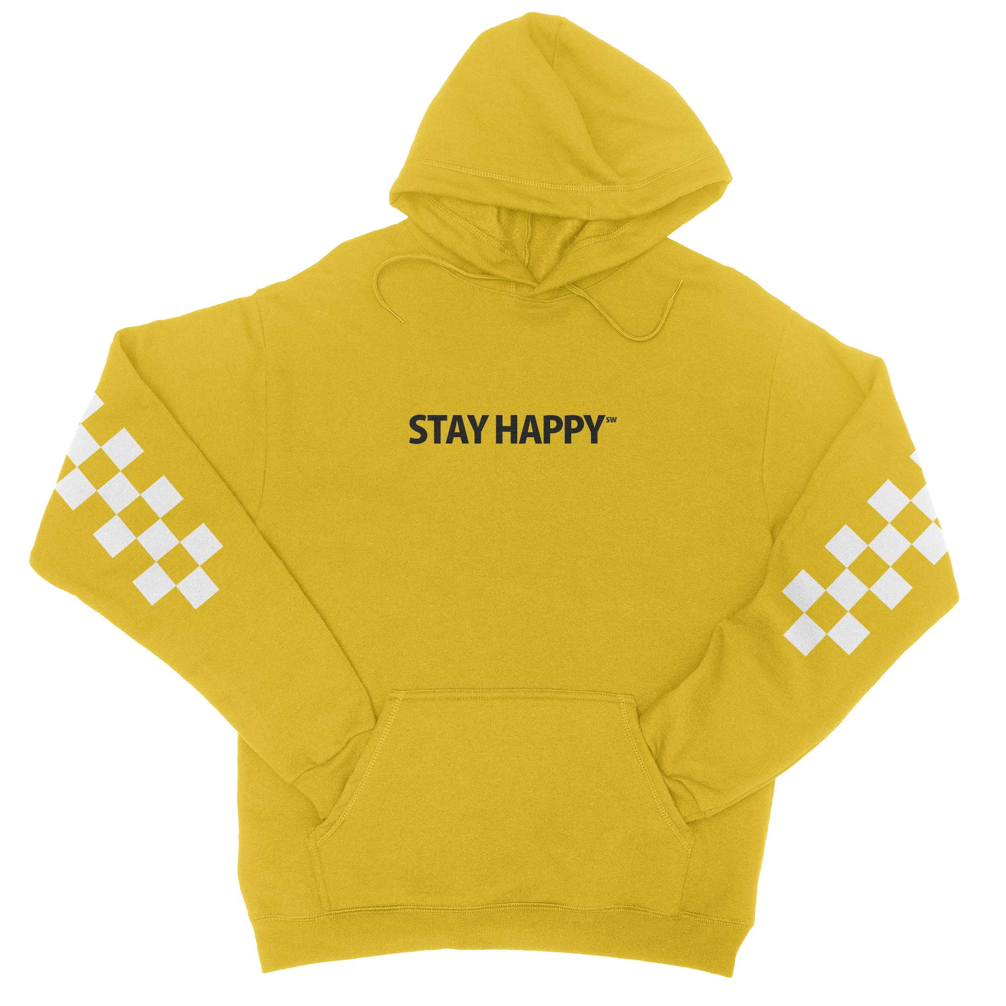 Stay Happy Checkerboard - Solid Gold Hoodie