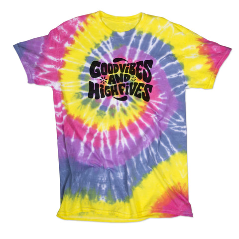 Good Vibes and High Fives Pastel Tie-Dye Shirt